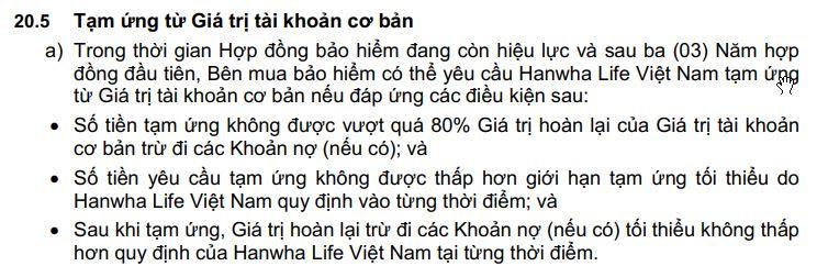 tạm ứng từ giá trị hoàn lại Hanwha life